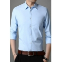 Modern Shirt Solid Color Chest Pocket Button Closure Long Sleeve Turn down Collar Fitted Shirt for Men