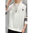 Modern Sweatshirt Contrasted Printed Long Sleeve Round Neck Relaxed Fit Pullover Sweatshirt Top for Men