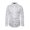 Popular Button Shirt Pure Color Long Sleeve Turn-down Collar Slim Shirt for Men