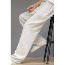 Elegant Men's Pants Solid Color Drawstrings Waist Side Pockets Straight Pants