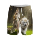 Men's Sporty Shorts 3D Tiger Figure Printed Drawstring Rise Relaxed Fitted Shorts