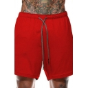 Men's Sports Shorts Drawstring Design Double-Layer Mid Rise Slim Fitted Shorts