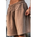 Mens Basic Shorts Pure Color Drawcord Waist Knee Length Relaxed Shorts
