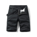 Casual Men's Shorts Solid Color Mid Rise Pocket Detail Mid Waist Cargo Shorts