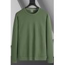 Basic Sweatshirt Plain Long Sleeve Crew Neck Regular Fit Pullover Sweatshirt for Guys