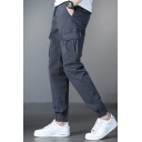Chic Mens Pants Flap Pocket Ankle Length Drawstring Waist Straight Cargo Pants