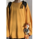 Basic Sweatshirt Plain Long Sleeve Round Neck Loose Fit Pullover Sweatshirt Top for Guys