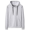 Street Look Hoodie Solid Color Kangaroo Pocket Drawstring Long Sleeve Regular Fit Hoodie for Men