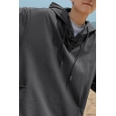 Street Look Hoodie Plain Pull over Front Pocket Single Button Half Sleeves Relaxed Fit Hoodie for Men