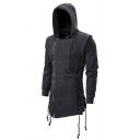Stylish Men's Hoodie Side Zip Pure Color Asymmetrical Long Sleeve Regular Fitted Drawcord Hoodie