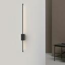 Slim Stick Wall Mount Lighting Minimalist 6.5 Inchs Wide Metallic LED Hallway Surface Wall Sconce in Black