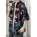 Trendy Shirt Graphic Pattern Button Detailed Turn-down Collar Short Sleeves Oversize Shirt for Men