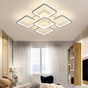Metallic LED Semi Flush-Mount Light Fixture Contemporary Square Close to Ceiling Lamp in White for Living room
