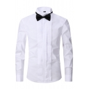 Modern Shirt Plain Button up Long Sleeves Turn-down Collar Slim Fit Shirt for Men