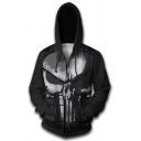 Street Style 3D Hoodie Punishes Print Full Zipper Front Pocket Long Sleeve Slim Fit Hoodie for Men