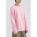 Trendy Sweatshirt Plain Round Collar Long-Sleeved Loose Pullover Sweatshirt for Men
