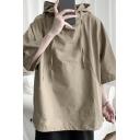 Mens Simple Hoodie Solid Color Front Pocket Drawstring 3/4 Sleeves Relaxed Hoodie Top