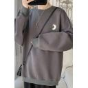 Simple Men's Sweatshirt Moon Pattern Long Sleeve Round Collar Pullover Relaxed Sweatshirt Top