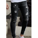 Casual Solid Color Jeans Mid Rise Broken Hole Bleach Slim Fit Jeans for Men