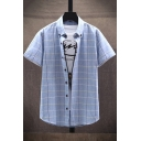 Casual Shirt Plaid Printed Short Sleeved Turn-down Collar Button up Relaxed Fit Shirt Top for Men