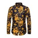 Chic Men's Shirt Chain Pattern Long-Sleeved Turn-down Collar Button-up Slim Shirt Top