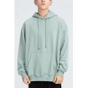 Leisure Guy Sweatshirt Plain Kanga Pocket Long Sleeve Loose Fit Drawstring Hoodie for Men