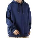 Mens Simple Hoodie Solid Color Long Sleeve Drawstring Loose Fit Hooded Sweatshirt