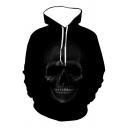Street Style Mens Hoodie Skull Printed Long Sleeve Drawcord Loose Hoodie