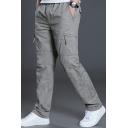 Men Trendy Pants Plain Zip Pocket Elastic Waist Full Length Straight Fitted Cargo Pants