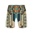 Fancy Shorts Ethnic Printed Drawstring Waist Mid Rise Regular Fit Shorts for Men