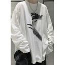 Cool Men Sweatshirt Hand Pattern Long Sleeve Crew Neck Ripped Loose Pullover Sweatshirt Top