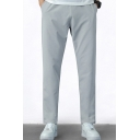 Trendy Pants Solid Color Pockets Decorated Straight Pants for Men