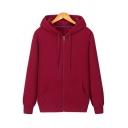 Basic Mens Hoodie Pure Color Drawcord Zipper Fly Long Sleeve Kanga Pocket Loose Hoodie