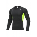 Sporty Men's Sweatshirt Color Block Crew Neck Long Sleeve Slim Fit Sport Sweatshirt