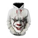 Chic White Hoodie Clown 3D Print Loose Long Sleeves Drawcord Front Pocket Loose Fit Hoodie for Men
