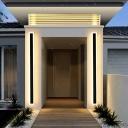Outdoors Black Bar Shaped Flush Wall Sconce Simplicity LED Metal Wall Lighting