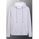 Simple Hoodie Plain Kangaroo Pocket Drawstring Long Sleeve Loose Fit Hoodie for Men