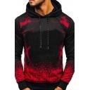 Trendy Hoodie Ombre Print Kangaroo Pocket Long Sleeve Drawstring Fitted Hoodie for Men