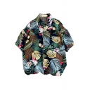 Leisure Shirt Tropical Plant Leaf Printed Button Detailed Turn-down Collar Short Sleeves Oversize Shirt for Men