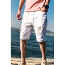 Casual Short Jeans Distressed Bleach Mid Waist Rolled Edge Loose Fit Shorts for Men
