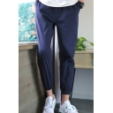 Fashionable Pants Plain Pocket Decorated Tapered Ankle Pants for Men