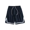 Sporty Shorts Stripe Pattern Drawstrings Mid-Rise Basketball Shorts for Guys