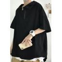 Mens FashionableHoodie Solid Color Zip Neck Half Sleeve Loose Fit Hooded Sweatshirt