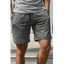 Mens Sporty Shorts Solid Color Drawstring Waist Loose Fit Mini Shorts