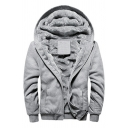 Leisure Hoodie Pure Color Sherpa Lined Zipper Fly Long Sleeve Loose Fitted Hoodie for Men
