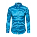 Leisure Shirt Metallic Solid Color Point Collar Long Sleeve Button Up Fitted Shirt Top for Men