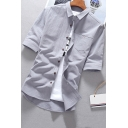 Mens Basic Shirt Solid Color Chest Pocket Half Sleeve Point Collar Button Up Fitted Shirt
