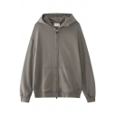 Street Look Hoodie Solid Color Front Pocket Zipper-down Long Sleeve Relaxed Hoodie for Men