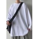 Stylish Sweatshirt Solid Color Long Sleeve Crew Neck Pullover Loose Sweatshirt for Men