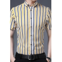 Men Formal Shirt Striped Print Button-down Collar Button up Short Sleeves Slim Fit Shirt